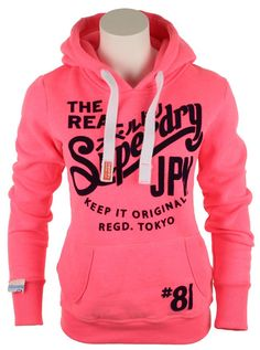superdry clothing | superdry-womens-superdry-womens-keep-it-tin-tab-hoody-neon-pink-45492 ...