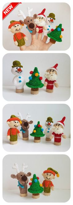 Christmas finger puppets, finger theatre, Christmas toys, finger theater, Santa Claus, Snowman, Christmas tree, Deer, Elf, christmas gift, baby gift,  There are handmade finger puppets for kids. There are adorable set of Christmas toys. They are crocheted from acrylic yarn and filled with fyberfill.