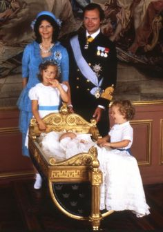Queen Silvia and King Carl Gustav with children, Princes Victoria, Prince Carl Philip and baby Princess Madeleine