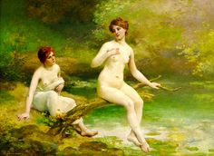 """Ballavoine Jules Frederic - Two Bathers (from <a href=""""http://www.oldpainters.org/picture.php?/44891/category/15126""""></a>)"""