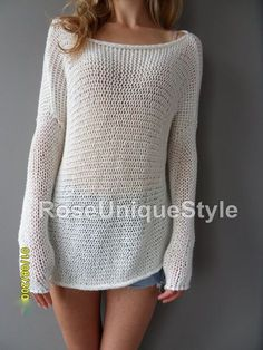 oversized bulky slouchy tunic cotton loose by roseuniquestyle - PIPicStats Summer Sweaters, Loose Knit Sweaters, Knit Sweater Dress, Cotton Sweater, Sweater Knitting Patterns, Knitting Designs, Crochet Patterns, Crochet Shirt, Knit Crochet