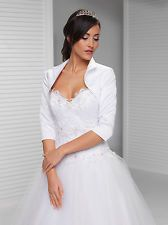 New Wedding Satin Top Jacket Collar Three Quarter Sleeve Bolero S M L XL - B27