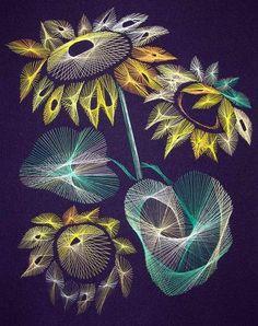 Sunflowers. String art by Olga Voronova