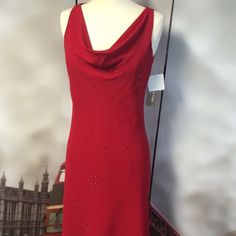 "Stunning Red Evening Gown by Jones New York Perfect for Prom, Sorority Formal, Pageant, or other Ball! Stunning red cowl-neck style dress. Just a hint of beadwork to dress it up! Pullover style. Fully lined. 100% cotton. Length: 49"" Chest: ~17.5"" laying flat, armpit to armpit. ❌no trades discount on bundles Jones New York Dresses Prom"