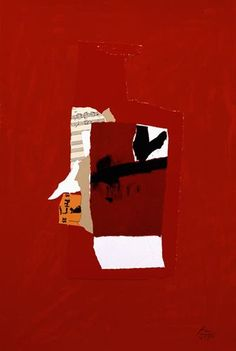 "Robert Motherwell ""Redness of Red,"" silkscreen, lithograph, and collage Robert Rauschenberg, Willem De Kooning, Mc Escher, Mark Rothko, Jackson Pollock, Art Du Collage, New York School, Franz Kline, Jasper Johns"