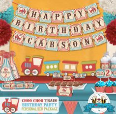 Vintage Choo Choo Train Birthday Party Package  - Personalized and Editable Items - Super Package - Complete set printable PDF - PK-13 via Etsy