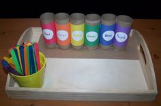 Color Sorting using toilet paper rolls and popsicle sticks. This website has a TON great preschool learni Color Sorting using toilet paper rolls and popsicle sticks. This website has a TON great preschool learning activities Preschool Learning Activities, Preschool Activities, Preschool Schedule, Family Activities, Early Learning, Kids Learning, Learning Games, Toddler Color Learning, Hands On Learning