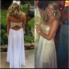 prom dress for sale! Selling my prom dress! It's a size 2/4 strapless, has only been worn once and still in perfect condition! it has a gold mini dress with a long sheer white over lay& cut out back! Dresses Prom