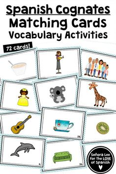 Spanish Cognates | Build Spanish vocabulary quickly and practice definite and indefinite articles with cognates! Includes 36 picture cards and 36 word cards. Includes vocabulary lists, fill in the blank activities using definite or indefinite articles, and word scrambles. #cognados #spanishcognates #spanishvocabulary Spanish Cognates, Spanish Vocabulary, Vocabulary Cards, Spanish Games, Spanish 1, How To Speak Spanish, Middle School Spanish, Elementary Spanish, Spanish Teaching Resources