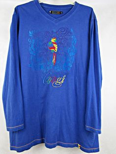 Coogi Colorful Parrot Embroidery Long Sleeve T-Shirt Size 3XL Blue Color Casual #COOGI #GraphicTee