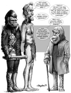 I don't do commissions, but this was a pencil sketch for my buddy who wanted 'something from Planet of the Apes'. Silly dialogue and grey box added late. Planet of the Apes Plant Of The Apes, Comic Art, Comic Books, Sci Fi Movies, Tarzan, Cultura Pop, Sci Fi Fantasy, Comic Covers, Tv