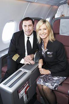 John Travolta and Olivia Newton-John at the arrival of the Qantas A380 in Los Angeles during October 2008.