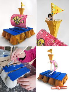 mollymoo.ie - Land Ho!! egg carton raft craft - I love this!