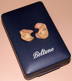 Pair Of Vintage Beltone In-The-Ear (ITE) Trio Hearing Aids, For Mild Hearing Loss, Circa 1993. Hearing Aids, The Past, Vintage, Collection