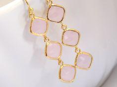 Pink Earrings Glass Earrings Gold Earrings Soft Pink by mlejewelry