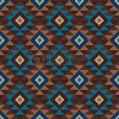 Traditional Tribal Aztec seamless pattern on the wool knitted texture photo