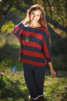 A great striped basic top - yours for only $32! Shop this and other great tops for $42 and under online! #shopentourage #stripes #fallstyle www.ShopEntourageClothing.com