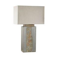 Modern Rectangular Natural Slate Stone Outdoor Lamp  OUTDOOR STONE TABLE LAMP WITH RECTANGULAR TAUPE NYLON HARDBACK SHADE
