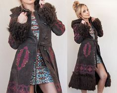 Embroidered Suede Fur Trim Long Penny Lane by ClassicRockCouture