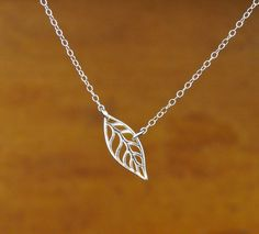 Leaf Pendant Necklace in Sterling Silver by Popsicledrum on Etsy, $29.00