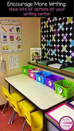 Have lots of choices at your writing center to make writing more enjoyable!