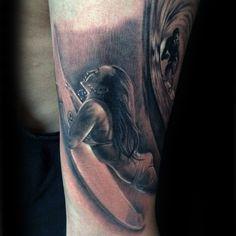 Guys Forearm Sensual Lady On Surf Board Tattoo