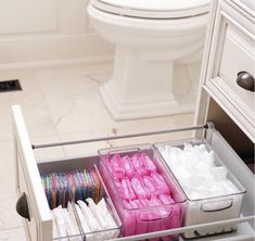 Bathroom organisation - Love a good secret stash 💗 home bathroom storage Bathroom Drawer Organization, Bathroom Organisation, Organized Bathroom, Bathroom Shelves, Dorm Bathroom, Bathroom Mirrors, College Bathroom Decor, Girl Bathroom Decor, Cute Bathroom Ideas