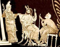 Pintura antiga, retratando os três Juízes do Inferno. Da esquerda para direita: Radamanto, Minos e Éaco.