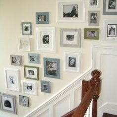 Love the idea of doing picture wall on the stairs or in the hall way