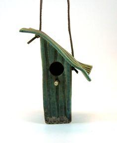 Ceramic Bird House  Tin Pan Alley Pattern in by Botanic2Ceramic