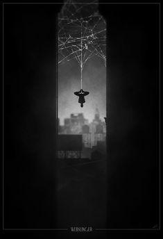 "Spider-Man /// Poster from Marko Manev's, ""Superhero Noir"" series."