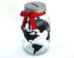 Globe Bank With Location Hearts, World Travels Fund, Vacation Savings Bank, Customizable Mason Jar, Coin Slot Lid, Trip Fund, Personalized