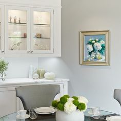 """""""White Peonies"""", oil on canvas by Chris Zambon is the perfect touch to this elegant and airy breakfast room for our Beverly Hills client's art collection. #breakfastroom #elegantinteriors #interiorinspo #interiordesire #artsy #stilllife #oilpainting #interiordesign #residentialdesign #sittingpretty"""