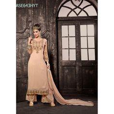 Designer Peach Georgette Party Wear Palazoo Style Salwaar Suit-ASE643HYT ( ARTI-522 )Karishma