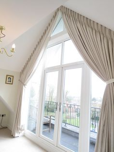 Large apex window completed with blackout pinch pleat curtains – View t… - Gardinen ideen Large Window Curtains, Bedroom Curtains With Blinds, Bedroom Ceiling, Curtains Living, Bedroom Windows, Living Room Windows, Blinds For Windows, Home Bedroom, Curtains Hooks