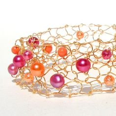 Hot Pink and Orange Beaded Cuff Bracelet Unique Wire by lapisbeach, $45.00