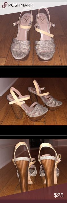 Vince Camuto Cleaning out my closets.... Vince Camuto strappy shoes, wooden platform and chunky heel....straps across toes are textured design and strap around ankle is nude patten leather. EU size 37, US size 7  Great shoes for many occasions Vince Camuto Shoes Platforms