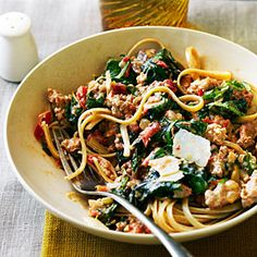 Spicy Sausage and Chard Pasta | Sunset  Also good with spaghetti squash instead of pasta!