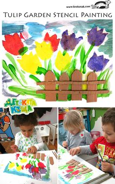 Tulip Garden - Stencil Painting--An idea very easy to realize. The kids from Kid's House, Varna –A Tulip Garden.