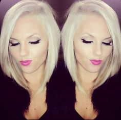 Long angled bob hairstyle for fine hair