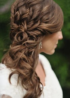 Wedding hair idea. Not sure if you would want it to the side like that.