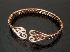 Wire Wrapped Copper & Bronze Hammered Spiral Wire Weave Bracelet or Bangle.