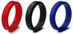 Red, black and blue silicone wedding rings designed by Knot Theory. Each ring is engraved with our Infinite Knot symbol, a symbol of infinity. #love #husband #gift #anniversary #present