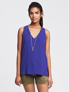 Cross-Back Crepe Tank | Banana Republic