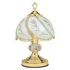 OK Lighting Touch Lamp with White Glass Floral Theme, Gold Glass Table Lamp, Arched Floor Lamp, Lamp, Glass Shades, Touch Table Lamps, White Glass, Gold Table Lamp, Glass Lamp, Touch Lamp