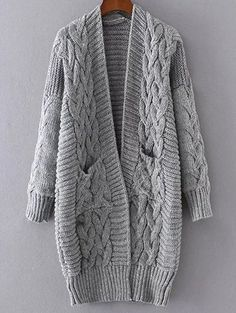 Chunky Cable Knit Longline Cardigan