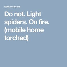 Do not. Light spiders. On fire. (mobile home torched)