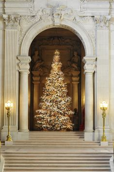 2011 World Tree of Hope, San Francisco City Hall, adorned with 7000 wish-filled origami cranes.