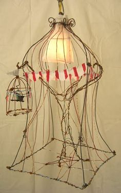 "Hanging Circus Light w/ Striped Curtain-18""tall by 14"" wide. Homemade Circus"