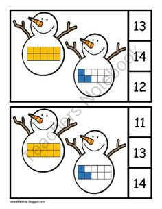 Here's a set of snowman themed punch and poke cards for identifying numbers 11-20.
